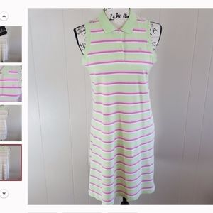Lilly Pulitzer Pink and Green Polo Style Striped